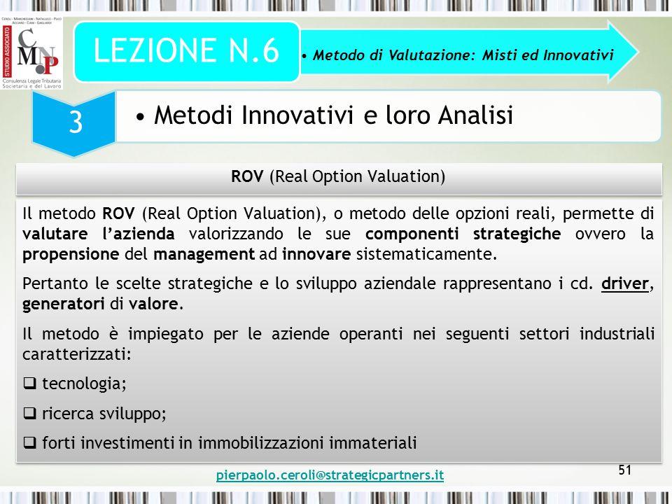pierpaolo.ceroli@strategicpartners.it 51 Metodo di Valutazione: Misti ed Innovativi LEZIONE N.6 3 Metodi Innovativi e loro Analisi ROV (Real Option Va