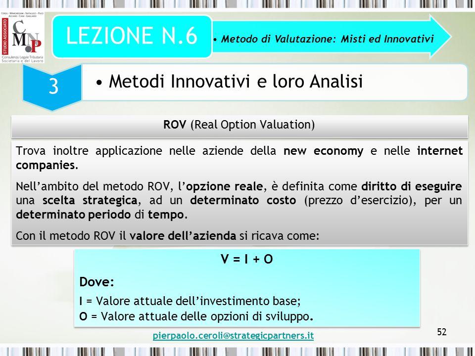 pierpaolo.ceroli@strategicpartners.it 52 Metodo di Valutazione: Misti ed Innovativi LEZIONE N.6 3 Metodi Innovativi e loro Analisi ROV (Real Option Va