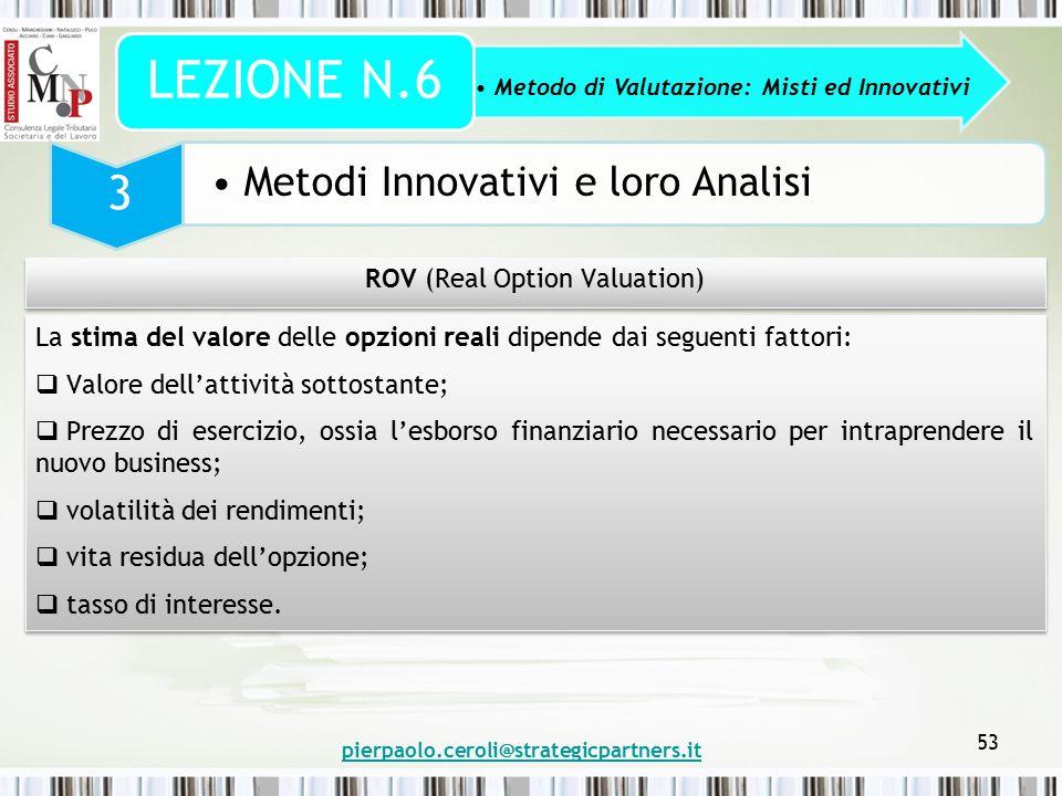 pierpaolo.ceroli@strategicpartners.it 53 Metodo di Valutazione: Misti ed Innovativi LEZIONE N.6 3 Metodi Innovativi e loro Analisi ROV (Real Option Va