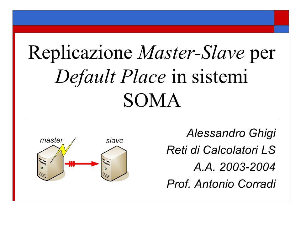 PNS  Il PlaceNameService è la tabella, posseduta da ogni Place di un dominio, contenente gli identificativi di tutti i nodi che compongono quel dominio  Poiché, per ipotesi, la replicazione coinvolge solamente i Default Place, la gestione di tutte le operazioni, analoghe al caso precedente del DNS, risulta leggermente più semplice  Un Default Place deve inviare al suo Slave un comando di aggiornamento non appena all'interno del dominio avvengono cambiamenti nella topologia