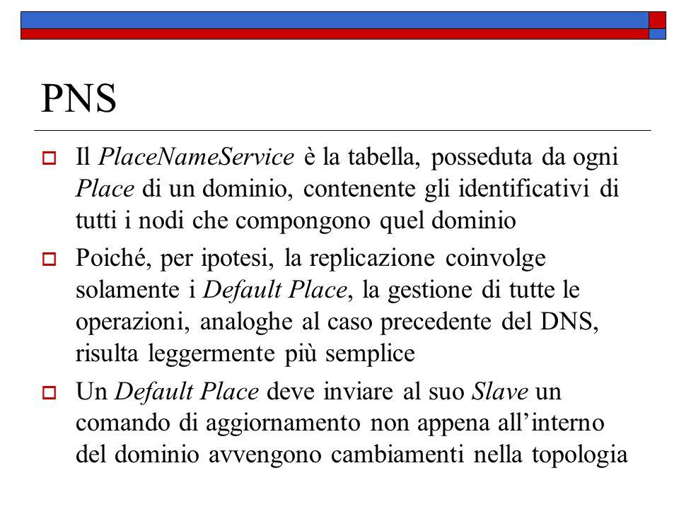 PNS  Il PlaceNameService è la tabella, posseduta da ogni Place di un dominio, contenente gli identificativi di tutti i nodi che compongono quel domin