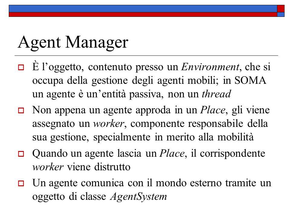 Agent Manager  È l'oggetto, contenuto presso un Environment, che si occupa della gestione degli agenti mobili; in SOMA un agente è un'entità passiva,