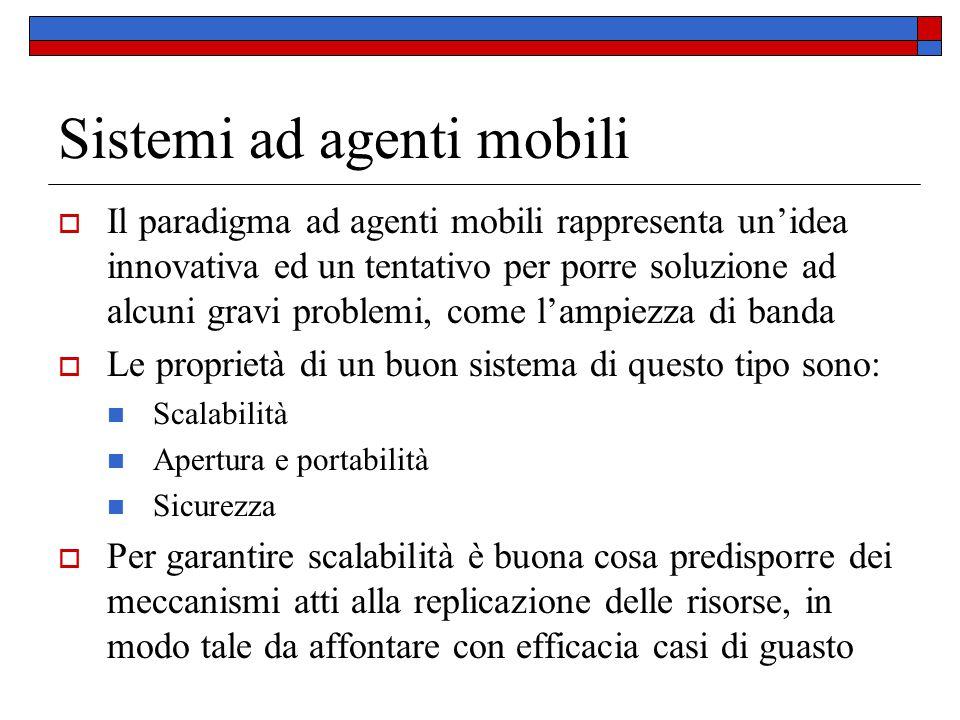 Sistemi ad agenti mobili  Il paradigma ad agenti mobili rappresenta un'idea innovativa ed un tentativo per porre soluzione ad alcuni gravi problemi,