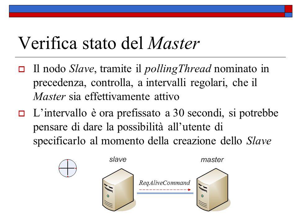 Verifica stato del Master  Il nodo Slave, tramite il pollingThread nominato in precedenza, controlla, a intervalli regolari, che il Master sia effett