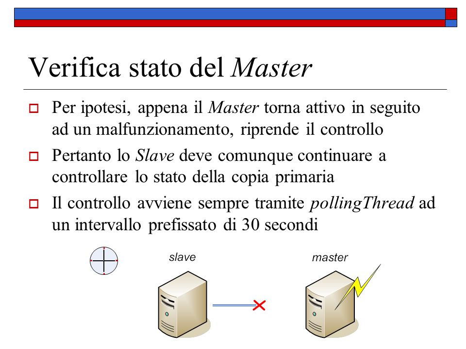 Verifica stato del Master  Per ipotesi, appena il Master torna attivo in seguito ad un malfunzionamento, riprende il controllo  Pertanto lo Slave de