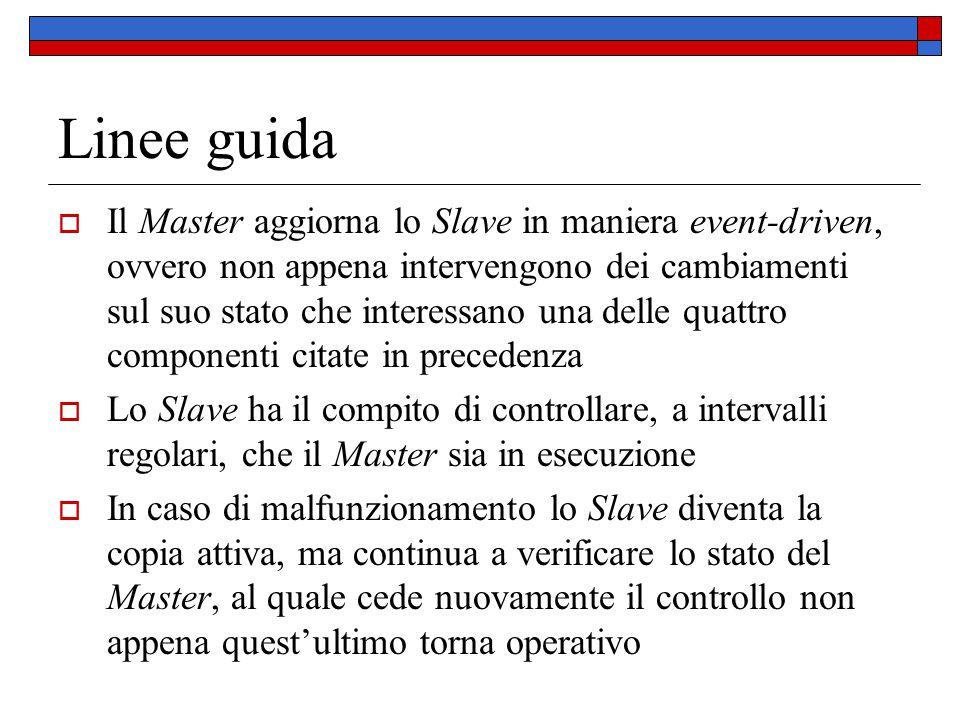 Linee guida  Il Master aggiorna lo Slave in maniera event-driven, ovvero non appena intervengono dei cambiamenti sul suo stato che interessano una de