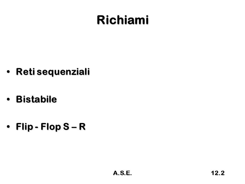 Richiami Reti sequenzialiReti sequenziali BistabileBistabile Flip - Flop S – RFlip - Flop S – R A.S.E.12.2