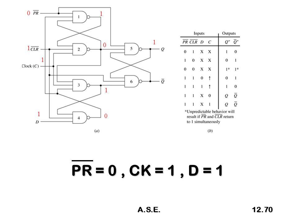 PR = 0, CK = 1, D = 1 0 1 1 1 1 0 1 0 1 A.S.E.12.70