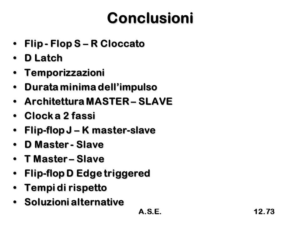 Conclusioni Flip - Flop S – R CloccatoFlip - Flop S – R Cloccato D LatchD Latch TemporizzazioniTemporizzazioni Durata minima dell'impulsoDurata minima dell'impulso Architettura MASTER – SLAVEArchitettura MASTER – SLAVE Clock a 2 fassiClock a 2 fassi Flip-flop J – K master-slaveFlip-flop J – K master-slave D Master - SlaveD Master - Slave T Master – SlaveT Master – Slave Flip-flop D Edge triggeredFlip-flop D Edge triggered Tempi di rispettoTempi di rispetto Soluzioni alternativeSoluzioni alternative A.S.E.12.73