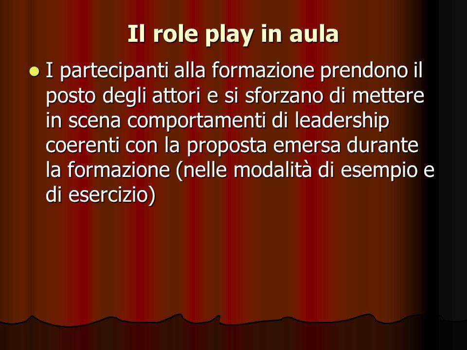 Il role play in aula I partecipanti alla formazione prendono il posto degli attori e si sforzano di mettere in scena comportamenti di leadership coere