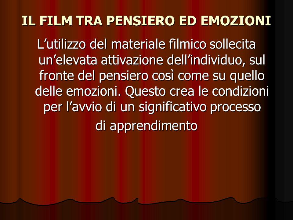 IL FILM TRA PENSIERO ED EMOZIONI L'utilizzo del materiale filmico sollecita un'elevata attivazione dell'individuo, sul fronte del pensiero così come s