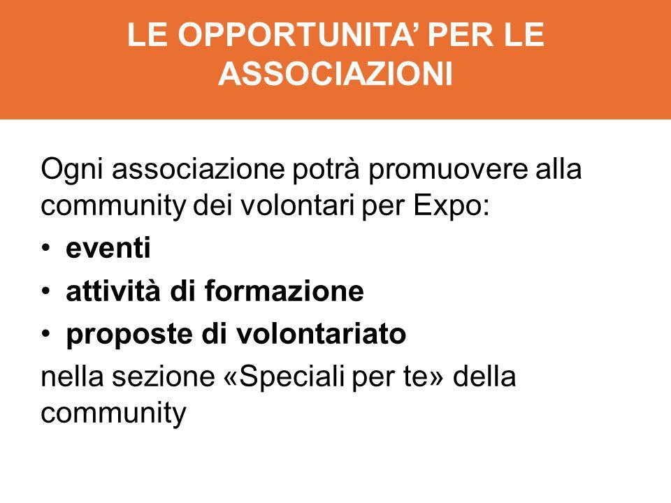 LE OPPORTUNITA' PER LE ASSOCIAZIONI Ogni associazione potrà promuovere alla community dei volontari per Expo: eventi attività di formazione proposte d