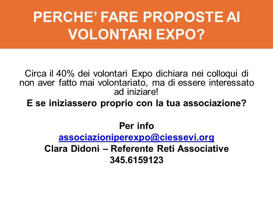 PERCHE' FARE PROPOSTE AI VOLONTARI EXPO? Circa il 40% dei volontari Expo dichiara nei colloqui di non aver fatto mai volontariato, ma di essere intere