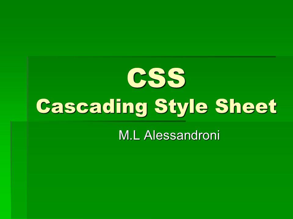 Introduzione 1  Il CSS è un linguaggio creato per ottenere un maggior controllo sulla rappresentazione grafica di una pagina HTML