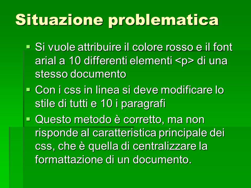 Situazione problematica  Si vuole attribuire il colore rosso e il font arial a 10 differenti elementi di una stesso documento  Con i css in linea si
