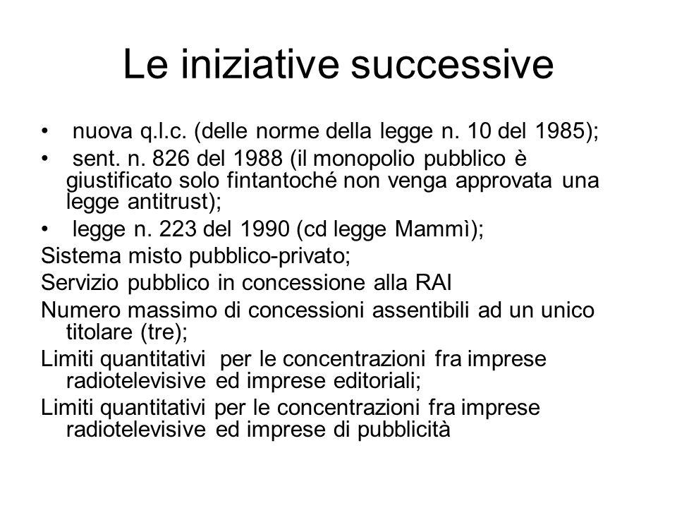 Le iniziative successive nuova q.l.c. (delle norme della legge n.