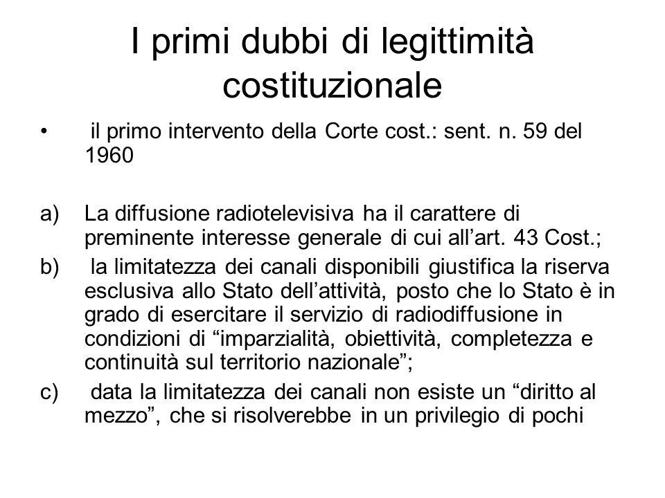 I primi dubbi di legittimità costituzionale il primo intervento della Corte cost.: sent.