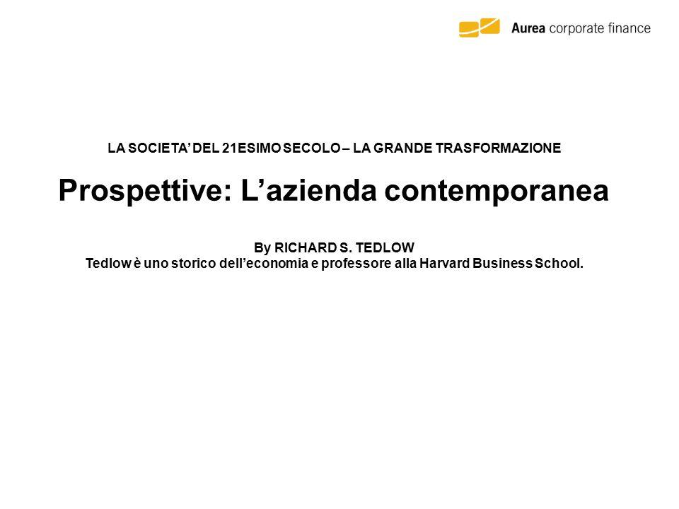 LA SOCIETA' DEL 21ESIMO SECOLO – LA GRANDE TRASFORMAZIONE Prospettive: L'azienda contemporanea By RICHARD S.