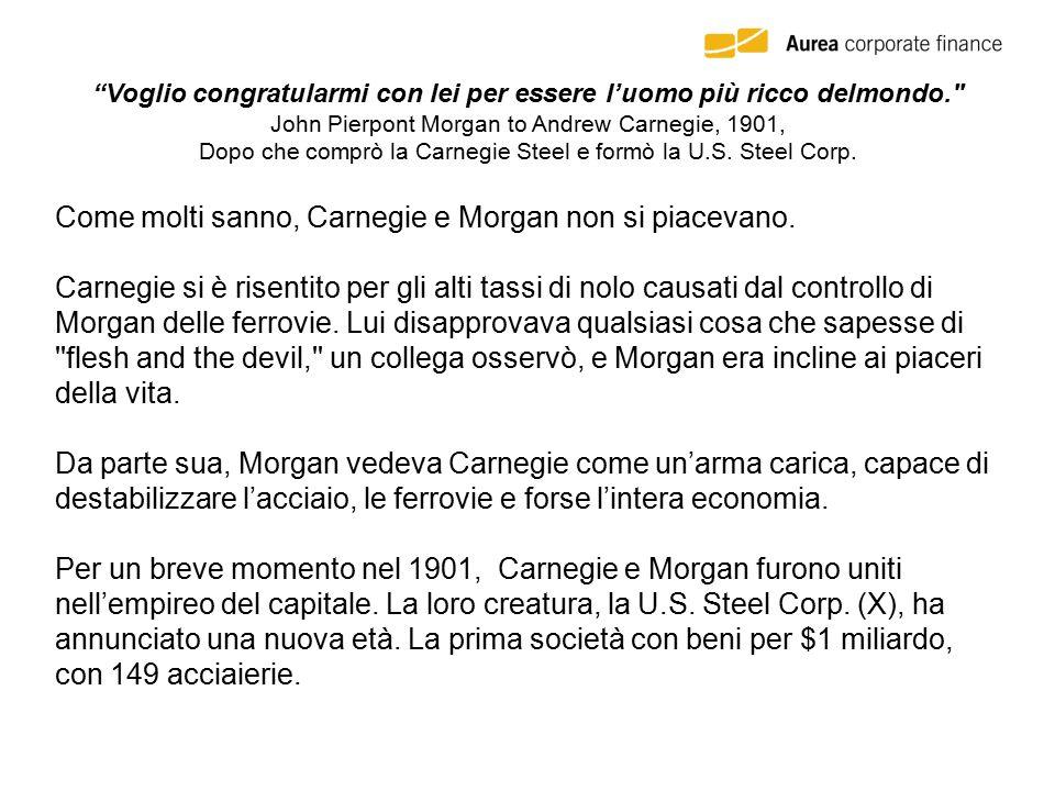 Voglio congratularmi con lei per essere l'uomo più ricco delmondo. John Pierpont Morgan to Andrew Carnegie, 1901, Dopo che comprò la Carnegie Steel e formò la U.S.