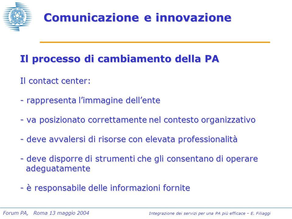 Forum PA, Roma 13 maggio 2004 Integrazione dei servizi per una PA più efficace – E.