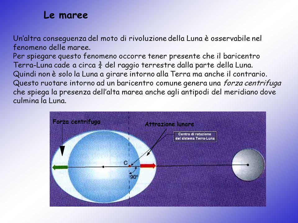 Le maree Un'altra conseguenza del moto di rivoluzione della Luna è osservabile nel fenomeno delle maree. Per spiegare questo fenomeno occorre tener pr