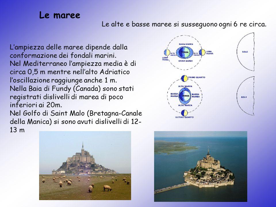 Le maree L'ampiezza delle maree dipende dalla conformazione dei fondali marini. Nel Mediterraneo l'ampiezza media è di circa 0,5 m mentre nell'alto Ad