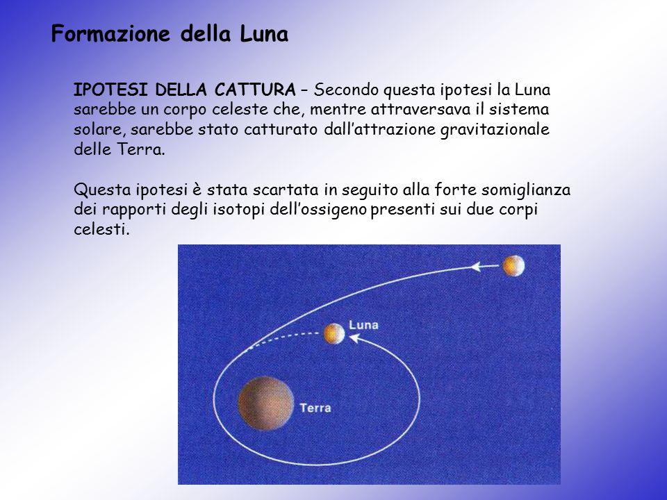 Formazione della Luna IPOTESI DELLA CATTURA – Secondo questa ipotesi la Luna sarebbe un corpo celeste che, mentre attraversava il sistema solare, sare