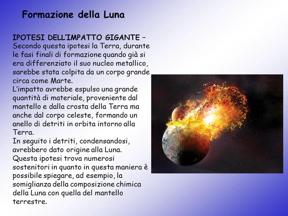 Formazione della Luna IPOTESI DELL'IMPATTO GIGANTE – Secondo questa ipotesi la Terra, durante le fasi finali di formazione quando già si era differenz