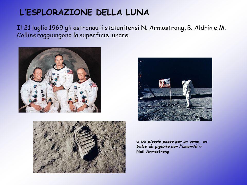 L'ESPLORAZIONE DELLA LUNA Il 21 luglio 1969 gli astronauti statunitensi N. Armostrong, B. Aldrin e M. Collins raggiungono la superficie lunare. « Un p