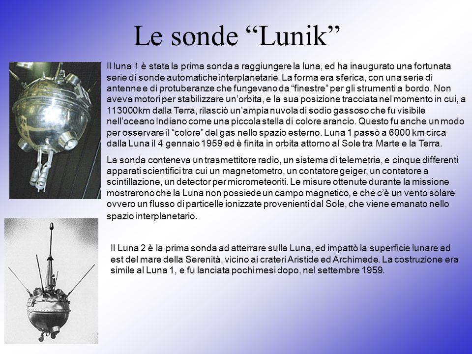 """Le sonde """"Lunik"""" Il luna 1 è stata la prima sonda a raggiungere la luna, ed ha inaugurato una fortunata serie di sonde automatiche interplanetarie. La"""