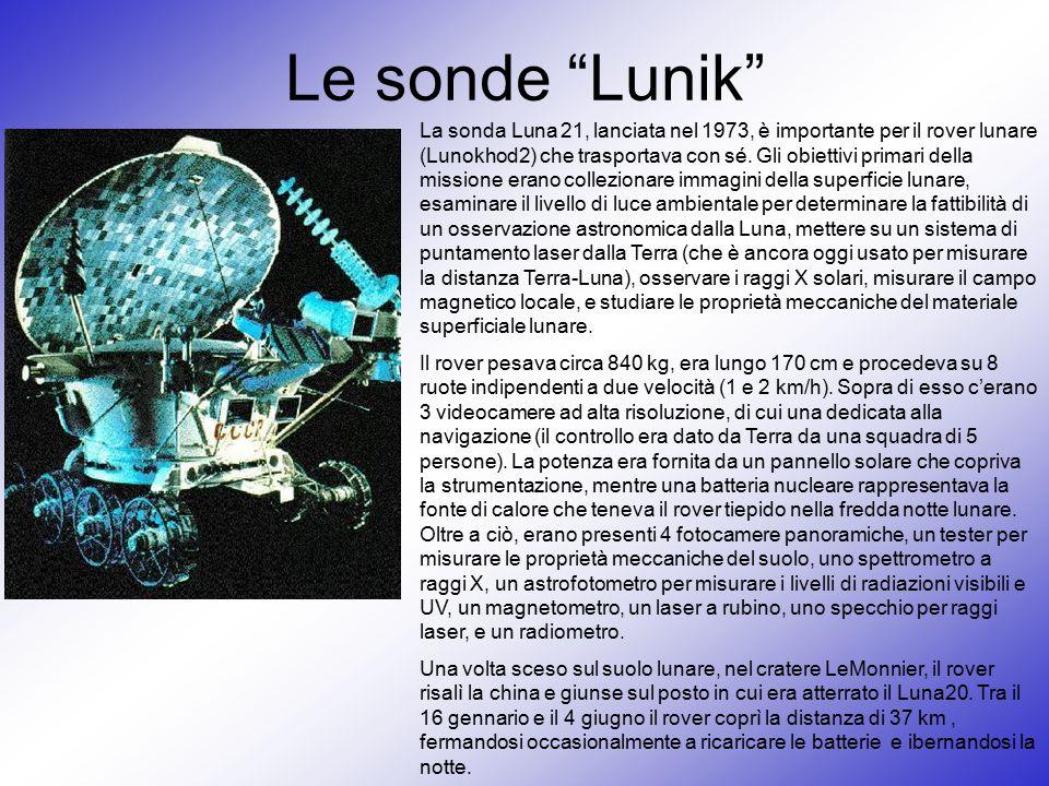 """Le sonde """"Lunik"""" La sonda Luna 21, lanciata nel 1973, è importante per il rover lunare (Lunokhod2) che trasportava con sé. Gli obiettivi primari della"""