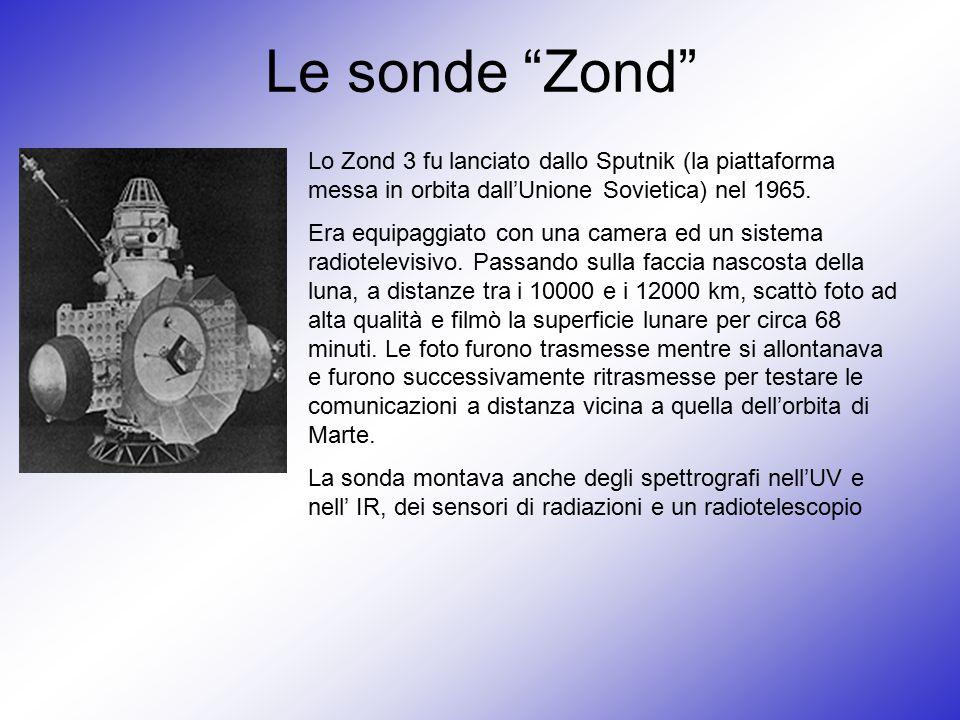 """Le sonde """"Zond"""" Lo Zond 3 fu lanciato dallo Sputnik (la piattaforma messa in orbita dall'Unione Sovietica) nel 1965. Era equipaggiato con una camera e"""