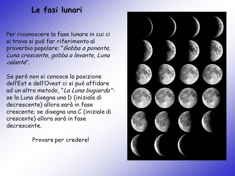 """Per riconoscere la fase lunare in cui ci si trova si può far riferimento al proverbio popolare: """"Gobba a ponente, Luna crescente, gobba a levante, Lun"""
