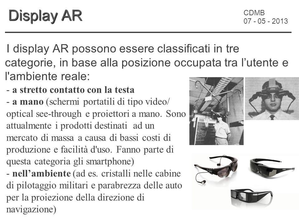 CDMB 07 - 05 - 2013 Display AR I display AR possono essere classificati in tre categorie, in base alla posizione occupata tra l'utente e l ambiente reale: - a stretto contatto con la testa - a mano (schermi portatili di tipo video/ optical see-through e proiettori a mano.