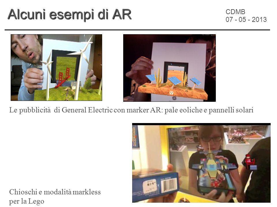 CDMB 07 - 05 - 2013 Alcuni esempi di AR Le pubblicità di General Electric con marker AR: pale eoliche e pannelli solari Chioschi e modalità markless per la Lego