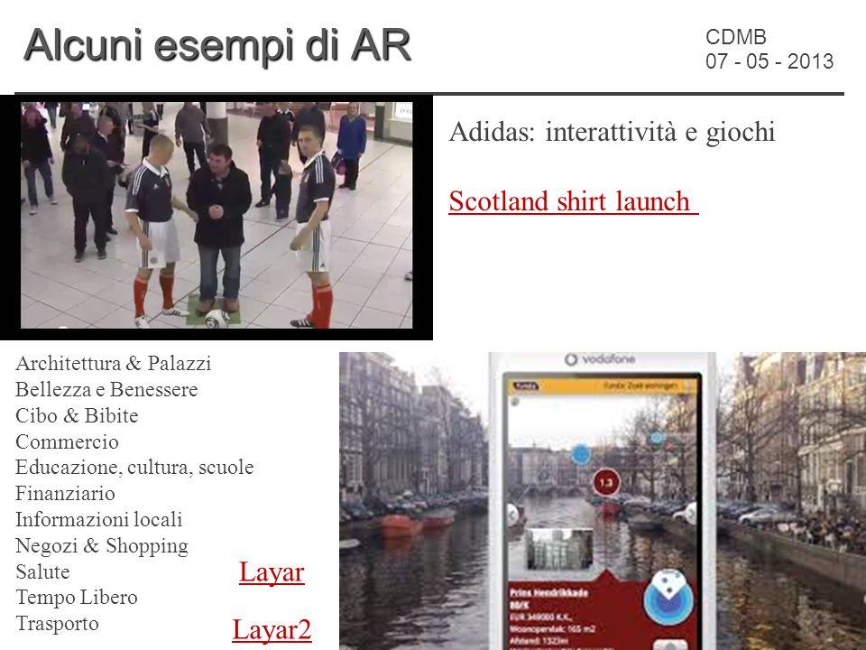 CDMB 07 - 05 - 2013 Alcuni esempi di AR Adidas: interattività e giochi Scotland shirt launch Layar Architettura & Palazzi Bellezza e Benessere Cibo &