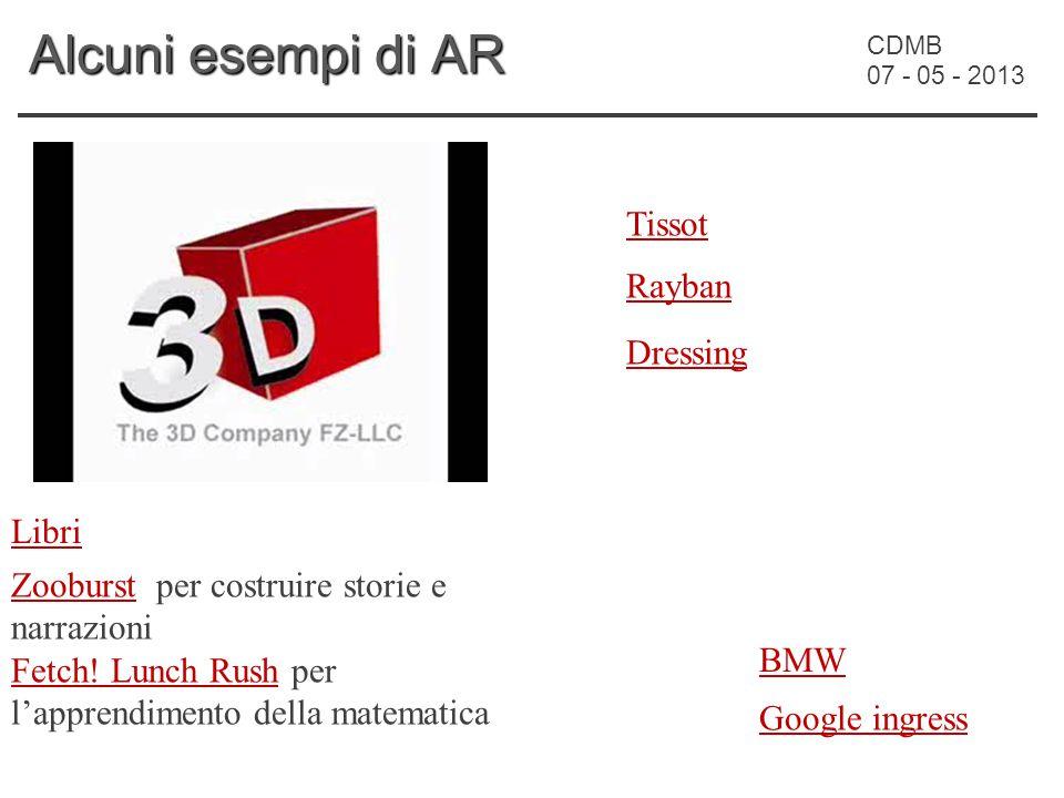 CDMB 07 - 05 - 2013 Alcuni esempi di AR Tissot BMW Rayban Dressing ZooburstZooburst per costruire storie e narrazioni Fetch.