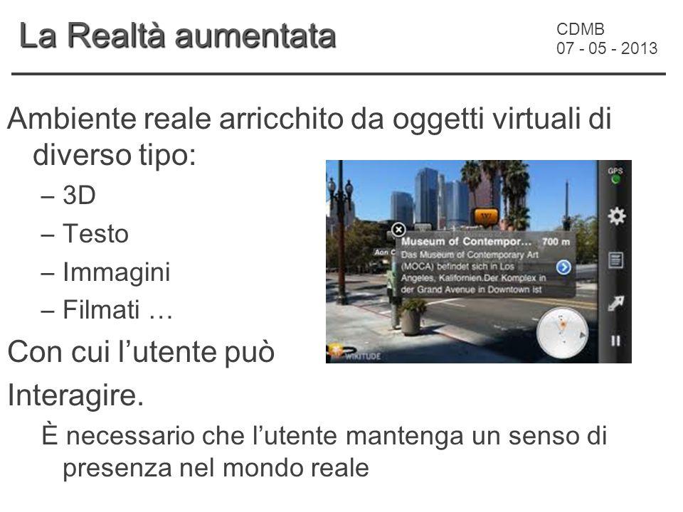 CDMB 07 - 05 - 2013 La Realtà aumentata Ambiente reale arricchito da oggetti virtuali di diverso tipo: –3D –Testo –Immagini –Filmati … Con cui l'utente può Interagire.