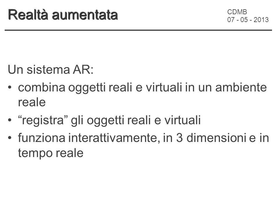 CDMB 07 - 05 - 2013 Realtà aumentata Un sistema AR: combina oggetti reali e virtuali in un ambiente reale registra gli oggetti reali e virtuali funziona interattivamente, in 3 dimensioni e in tempo reale