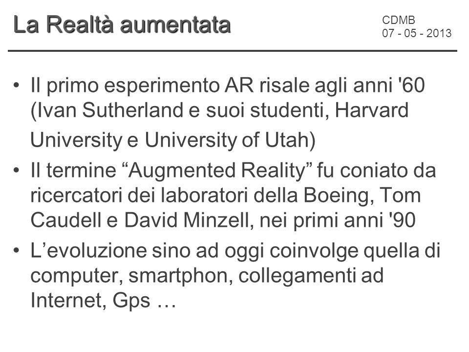 CDMB 07 - 05 - 2013 La Realtà aumentata Il primo esperimento AR risale agli anni '60 (Ivan Sutherland e suoi studenti, Harvard University e University