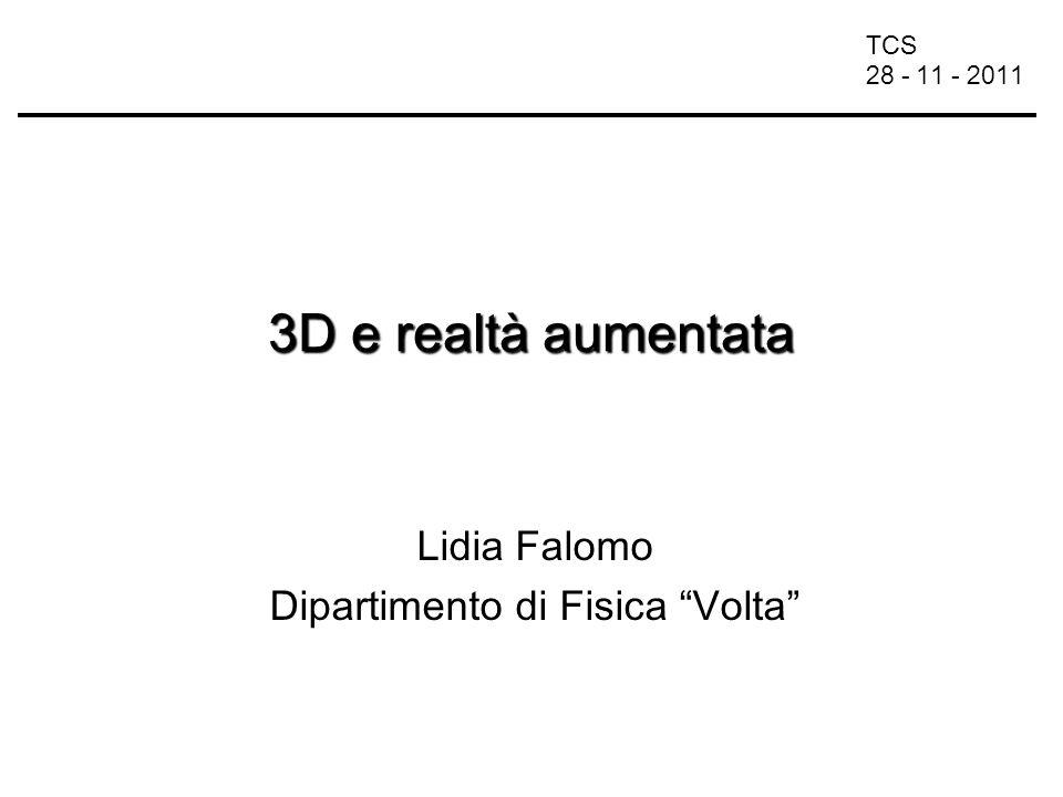 TCS 28 - 11 - 2011 Web e 3D 1994: prima conferenza annuale sul World Wide Web di Ginevra –nasce VRML (Virtual Reality Modeling Language) linguaggio comune per la descrizione di ambienti 3D e dei relativi link con il web 1996: VRML Consortium 1998: Web3D Consortium –X3D (Extensible 3D) descrizione di mondi virtuali interattivi distribuiti per la rete