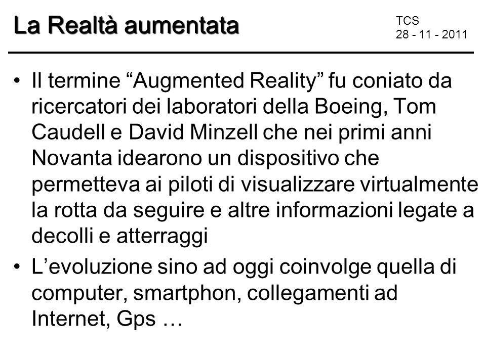 TCS 28 - 11 - 2011 La Realtà aumentata ambiente reale arricchito da oggetti virtuali di diverso tipo: –3D –Testo –Immagini –Filmati … È necessario che l'utente mantenga un senso di presenza nel mondo reale