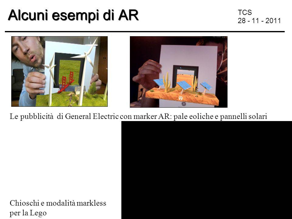 TCS 28 - 11 - 2011 Alcuni esempi di AR Le pubblicità di General Electric con marker AR: pale eoliche e pannelli solari Chioschi e modalità markless per la Lego