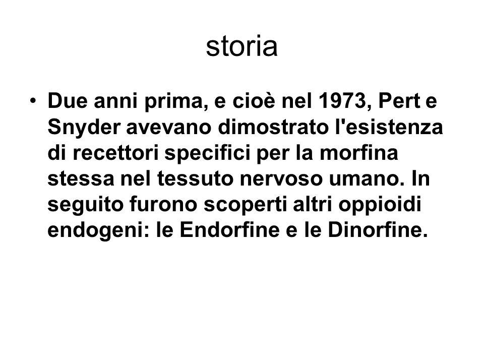 storia Due anni prima, e cioè nel 1973, Pert e Snyder avevano dimostrato l esistenza di recettori specifici per la morfina stessa nel tessuto nervoso umano.
