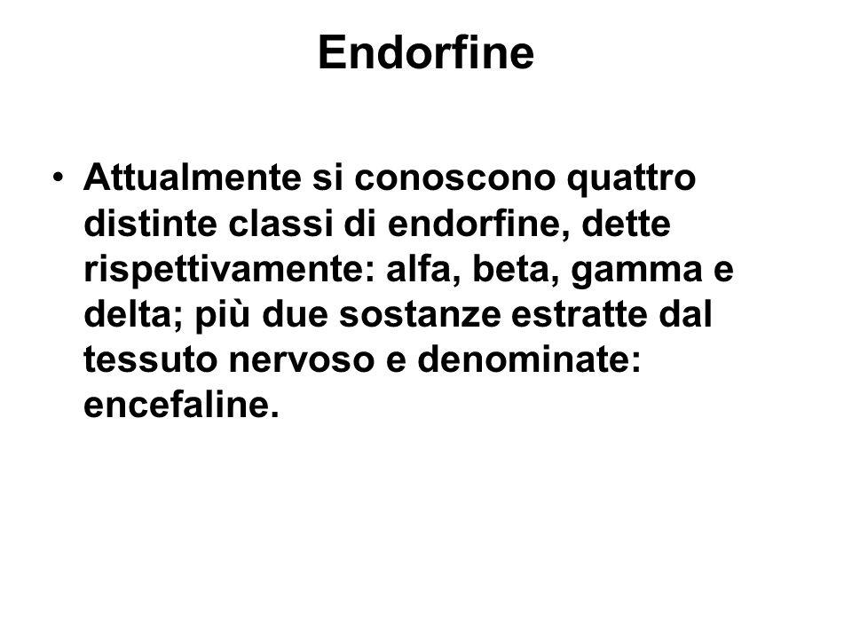 Endorfine Attualmente si conoscono quattro distinte classi di endorfine, dette rispettivamente: alfa, beta, gamma e delta; più due sostanze estratte dal tessuto nervoso e denominate: encefaline.