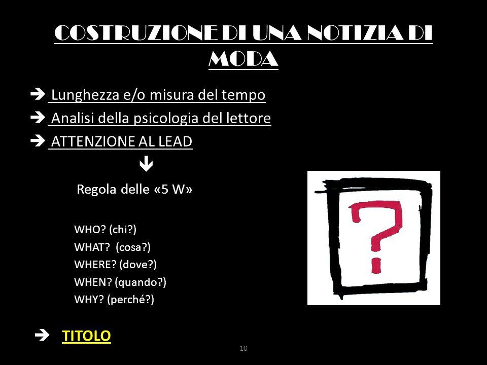 COSTRUZIONE DI UNA NOTIZIA DI MODA  Lunghezza e/o misura del tempo  Analisi della psicologia del lettore  ATTENZIONE AL LEAD  Regola delle «5 W» W