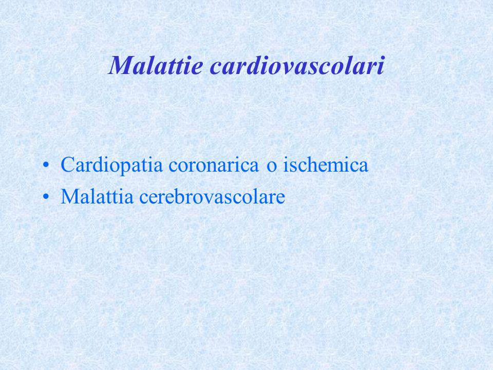 Malattie cardiovascolari Cardiopatia coronarica o ischemica Malattia cerebrovascolare
