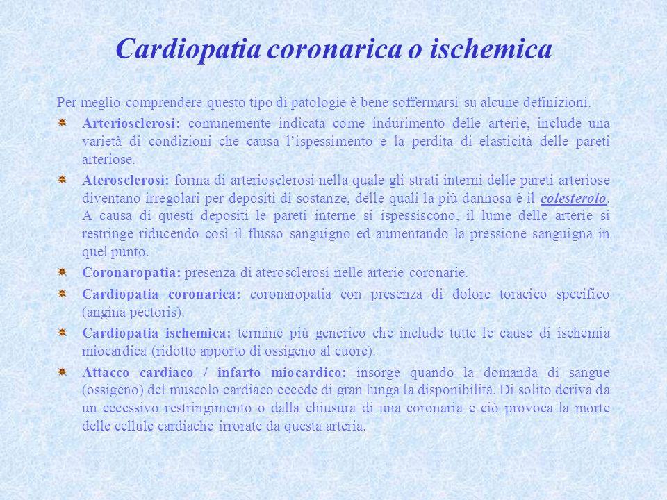 Cardiopatia coronarica o ischemica Per meglio comprendere questo tipo di patologie è bene soffermarsi su alcune definizioni.