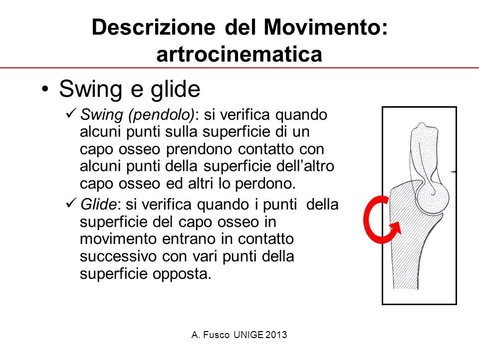 A. Fusco UNIGE 2013 Descrizione del Movimento: artrocinematica Swing e glide Swing (pendolo): si verifica quando alcuni punti sulla superficie di un c