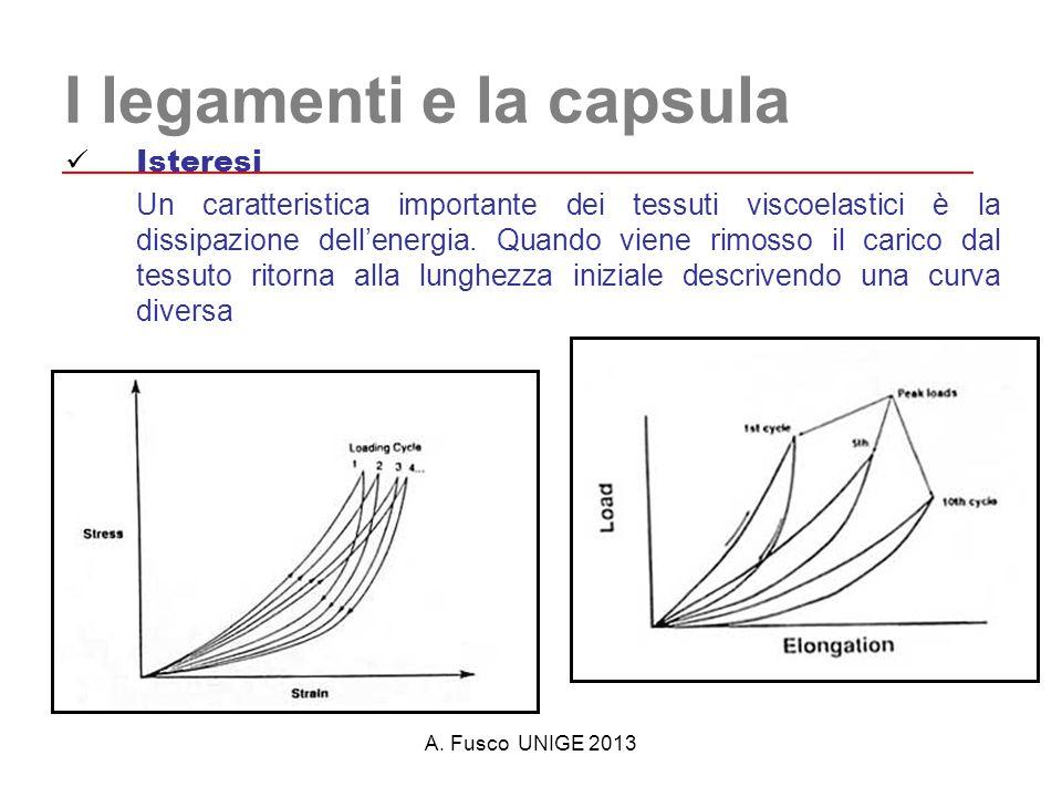 A. Fusco UNIGE 2013 I legamenti e la capsula Isteresi Un caratteristica importante dei tessuti viscoelastici è la dissipazione dell'energia. Quando vi